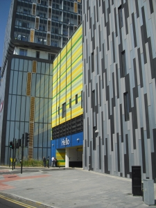 """How the car park entrance turned out - with no """"Green Wall"""" of ivy in sight, only Zinc and Trespa cladding"""