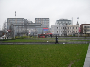 Woolwich Central from General Gordon Square. The 1860s terrace on the right-hand side faces an uncertain future