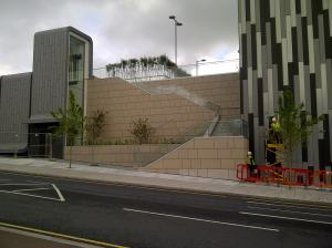 The stairs up to the new pedestrian walkway - the consequences of a two-storey car park that could not go underground