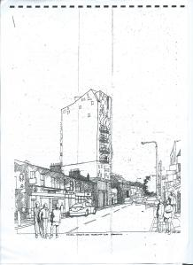 The proposed eight-storey hotel proposed to take the place of Hardy's on Trafalgar Road: not an April Fool, it turned out