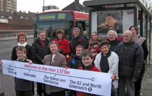 132 bus and Labour campaigners