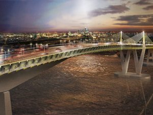 This CGI of the Gallions Reach bridge may look breathtaking, but in reality it would require mile-long ramps at either end to achieve the necessary 50-metre clearance above the Thames: hardly conducive to walking or cycling
