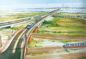 This Artist's Impression of the Lower Thames Crossing, proposed by Steve Norris in the mid-1990s, shows dinky trolley buses running on dedicated lanes with overhead cables  - a commitment that was later dropped