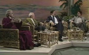 Mervyn Stockwood. Malcolm Muggeridge, John Cleese and Michael Palin debate Life of Brian in 1979. No blood was spilt.