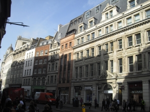 Much of the City's Edwardian and Victorian buildings survive, but only as facades. The new rooves and modern dormer windows seen here indicate that these buildings have been completely redeveloped behind retained facades